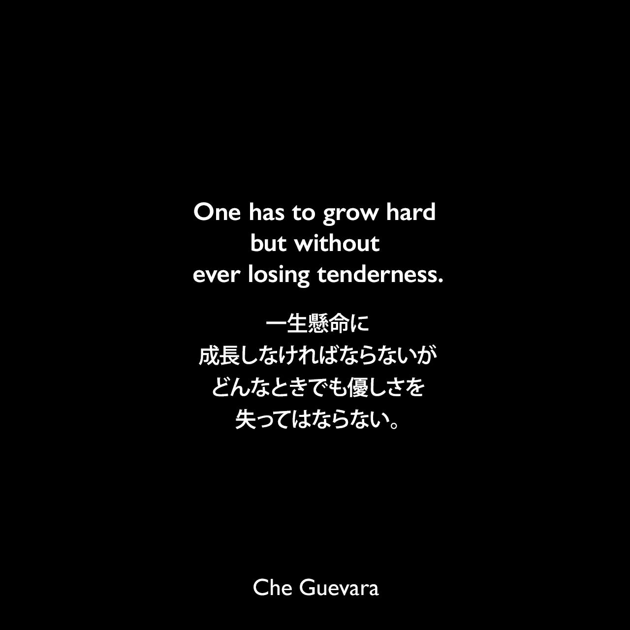 One has to grow hard but without ever losing tenderness.一生懸命に成長しなければならないが、どんなときでも優しさを失ってはならない。- レオナルド・ボフによる本「Essential Care : An Ethics of Human Nature」よりChe Guevara