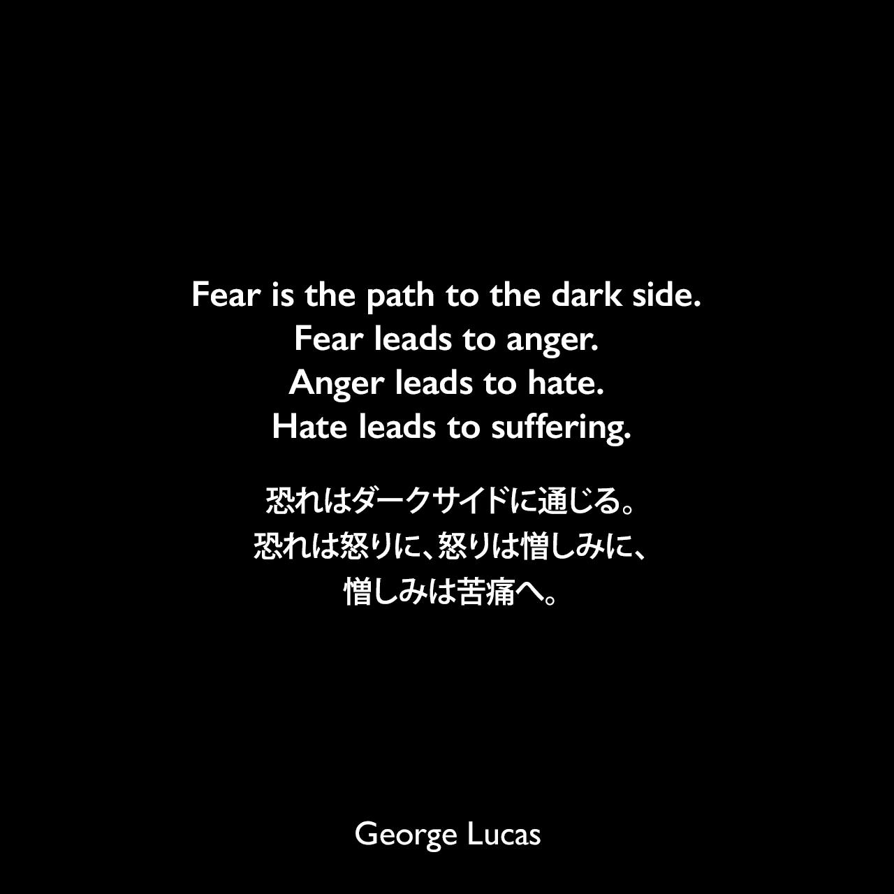 Fear is the path to the dark side. Fear leads to anger. Anger leads to hate. Hate leads to suffering.恐れはダークサイドに通じる。恐れは怒りに、怒りは憎しみに、憎しみは苦痛へ。- ヨーダがアナキンに言った言葉(Star Wars: Episode I - The Phantom Menace ファントム・メナス)よりGeorge Lucas