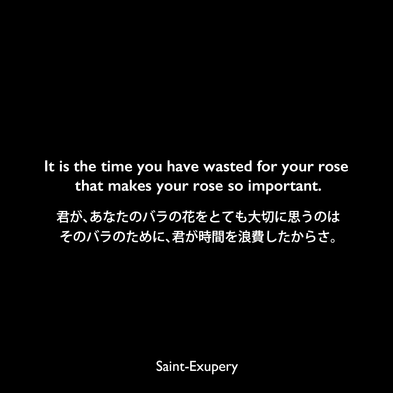It is the time you have wasted for your rose that makes your rose so important.君が、あなたのバラの花をとても大切に思うのは、そのバラのために、君が時間を浪費したからさ。